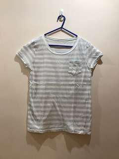 Light blue and white striped tee