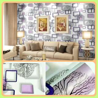 Wallpaper Sticker Kotak 3D purple 45cm x10m