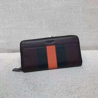 【COACH代購館】美國代購COACH 58109 條紋皮革ㄇ拉長夾 男士錢包 卡包 皮夾  挑戰網絡最低價