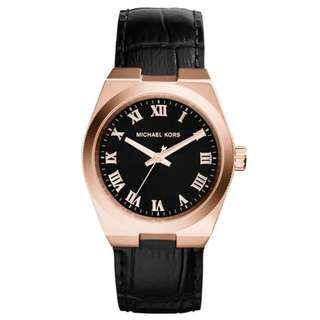 CHANNING BLACK DIAL ROSE GOLD-TONE UNISEX WATCH MK2358