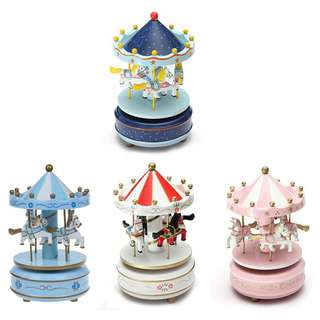 2pcs Musical carousel horse wooden carousel music box toy child baby game
