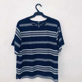 Preloved Plus Size Branded Top (Memo XL Navy Blue with White Stripes)