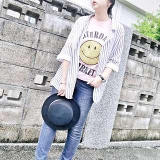 🚚 [Y A N  Z H U]穿搭達人必備💫休閒直條紋西裝外套+短褲 套裝現貨+預購