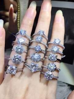 客人提供款式訂制18K白金莫桑鑽石戒指