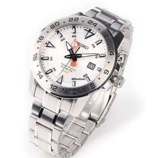 精工 SEIKO KINETIC Sportura GMT SUN025P1 白面 100M 防水 SUN025-P1