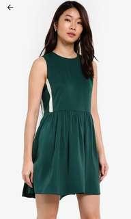 Zalora green contrast side dress