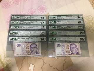 Fixed Price - Singapore Portrait Series $2 Paper Banknote 0ZZ Last/Replacement Prefix 10 Runs PMG 66 67