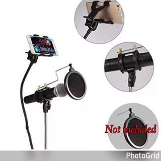 Microphone Stand With Cellphone Holder