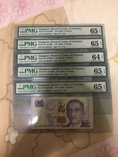Fixed Price - Singapore Portrait Series $2 Paper Banknote 0AA First Prefix 5 Runs PMG 64 65 EPQ