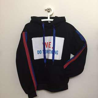 Black Hoodie with Red & Blue Line Tape Korean Fashion Style