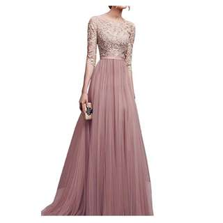 Women Long Dress Lace Wedding Party