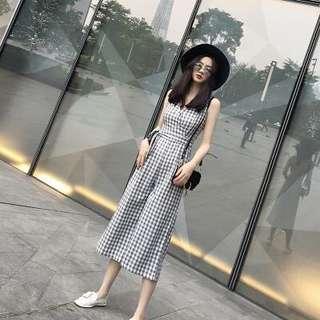 🚚 氣質格紋連身褲裙
