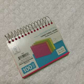Neon colored index cards