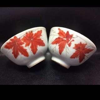 聽雨樓:#MFC-0012-A:【民國】紅楓葉茶杯一對