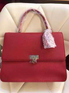 Agnes B Red Top Handle Bag