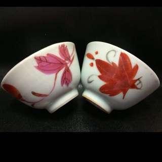 聽雨樓:#MFC-0012-F:【民國】紅楓葉茶杯一對