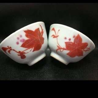 聽雨樓:#MFC-0012-D:【民國】紅楓葉茶杯一對