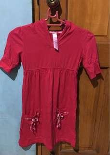 Fuschia Pink Dress with Hoodie  5-6yo
