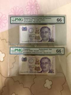 Fixed Price - Singapore Portrait Series $2 Paper Banknote 0AA & 0ZZ First & Last Prefix PMG 66 EPQ