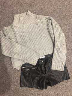 Knit top + Leather Shorts