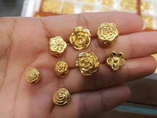 【花花系列】足金金飾 999硬金串飾 路路通 ($480/g) Gold Bracelet Charms