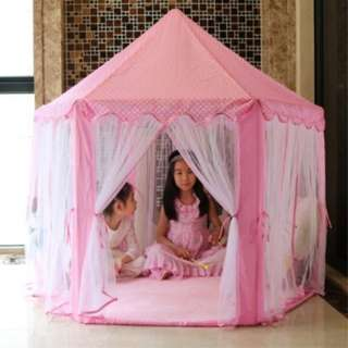 140x135cm Large Princess Castle Tulle Children House Game Selling Play Tent Yurt Creative (PINK)