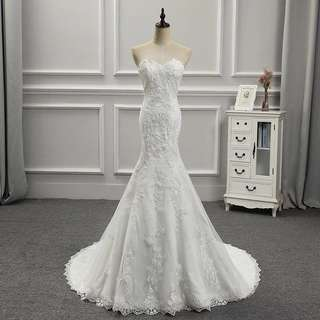 READY STOCK - Wedding Gown White Straight cut with lace fish tail
