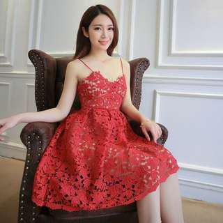 Red Lace Dress short