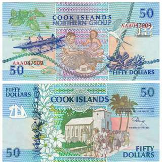 🚚 1992 COOK ISLANDS 50 Dollars AAA Prefix UNC