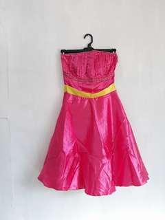 Pink Yellow Bridesmaid Dress