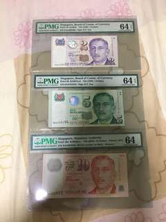 Fixed Price - Singapore Portrait Series 0AA $2 $5 & 4AA $10 Banknote PMG 64