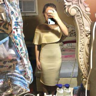 Beige Off Shoulder Formal Bodycon Dress