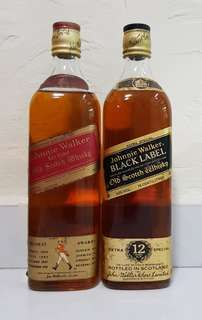 Johnnie red and black 750ml 2 bottles gold cap