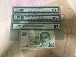 Fixed Price -Singapore Portrait Series $5 Paper Banknote 1AA First Prefix Lee Hsien Loong Signature PMG 67 $70 Each
