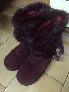 🚚 iccasu牛皮粘胶女雪靴