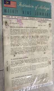 Federation of Malaya Weekly News Summary 1952. Before MERDEKA.