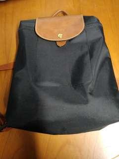 100%真品85%NEW Longchamp backpack 黑色背包【 不議價,不交換】