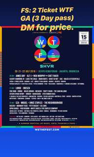 WTF Ticket 3 Day Pass / We The Fest 2018