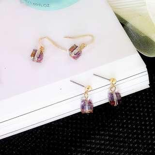 現貨極簡紫彩小方塊水晶耳針耳環/可改耳夾