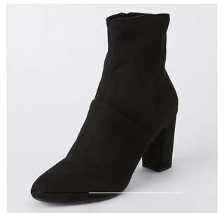 Women's black suede ankle heeled boots