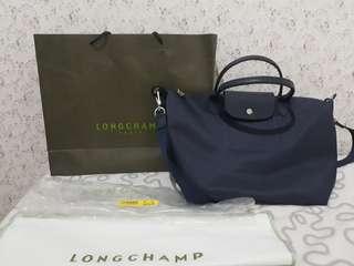 BRANDED ORIGINAL BAG LONGCHAMP NEO LE PLIAGE AUTHENTIC NAVY MEDIUM