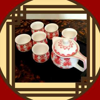 6x Double Layer Cups and Teapot