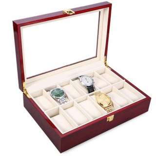 12 SLOTS WOOD WATCH DISPLAY CASE WATCHES BOX GLASS TOP JEWELRY STORAGE ORGANIZER (VERMILION)  #July100