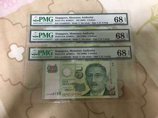 Fixed Price - Singapore Portrait Series $5 Paper Banknote 1AA First Prefix Lee Hsien Loong Signature 3 Runs PMG 68 EPQ