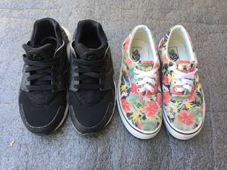 Authentic Nike Huarache and Vans floral