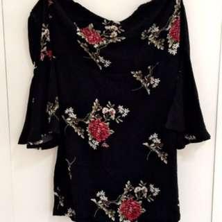 Off Shoulder Black Floral Dress