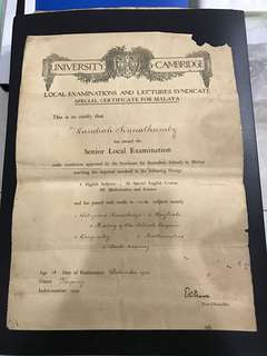 1922 Cambridge Malaya Certificate. RARE.