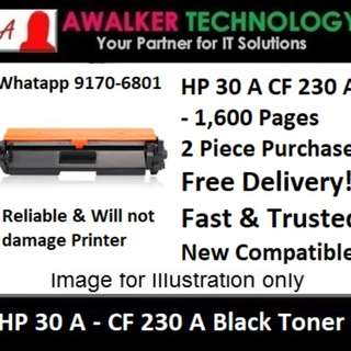 HP 30A CF230A Black Toner 1,600 Pages Compatible will not damage Printer Warranty 12 months Delivery 1 to 3 Business Day Trusted Products recommended by Past Users.