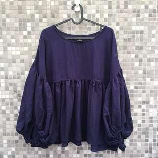 🚚 Pazzo 深藍泡泡袖上衣(另有純白)
