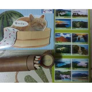 香港郵局鳳凰徑貼紙記念郵票 日本郵局貓貓明信片